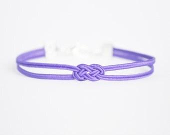 Purple delicate minimal petite double infinity knot soutache braid rope bracelet