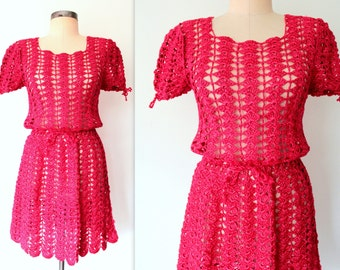 60s Mini Dress / Red Mini Dress / Peek-a-boo Raffia Dress