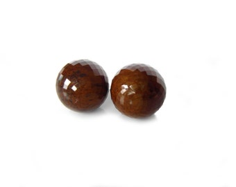 Tigers Eye Faceted Globe Studs | Ready to Ship | Semi Precious Modern Post Stud Earrings, Handcrafted, 14k Gold
