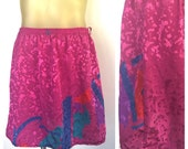 Pink 80s Skirt Embossed Hot Pink Colorful Geometric 70s Disco Party Skirt Fun Mini Skirt Elastic Waist Belt Loops 80s Rockstar Skirt 10 L