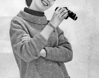 Knitting Pattern, Womens Pullover Sweater Knitting Pattern, Audrey Hepburn Style, INSTANT Download Pattern PDF (2208)