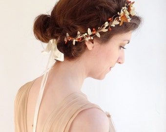 fall flower circlet, floral bridal headband, autumn wedding, fall wedding hair piece, bridal hair accessories, flower girl, burnt orange