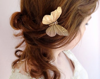 jeweled butterfly hair pin, gold bridal hair clip, Swarovski crystal hairpiece, mauve hair accessory, sparkly hair pin, butterflies for hair