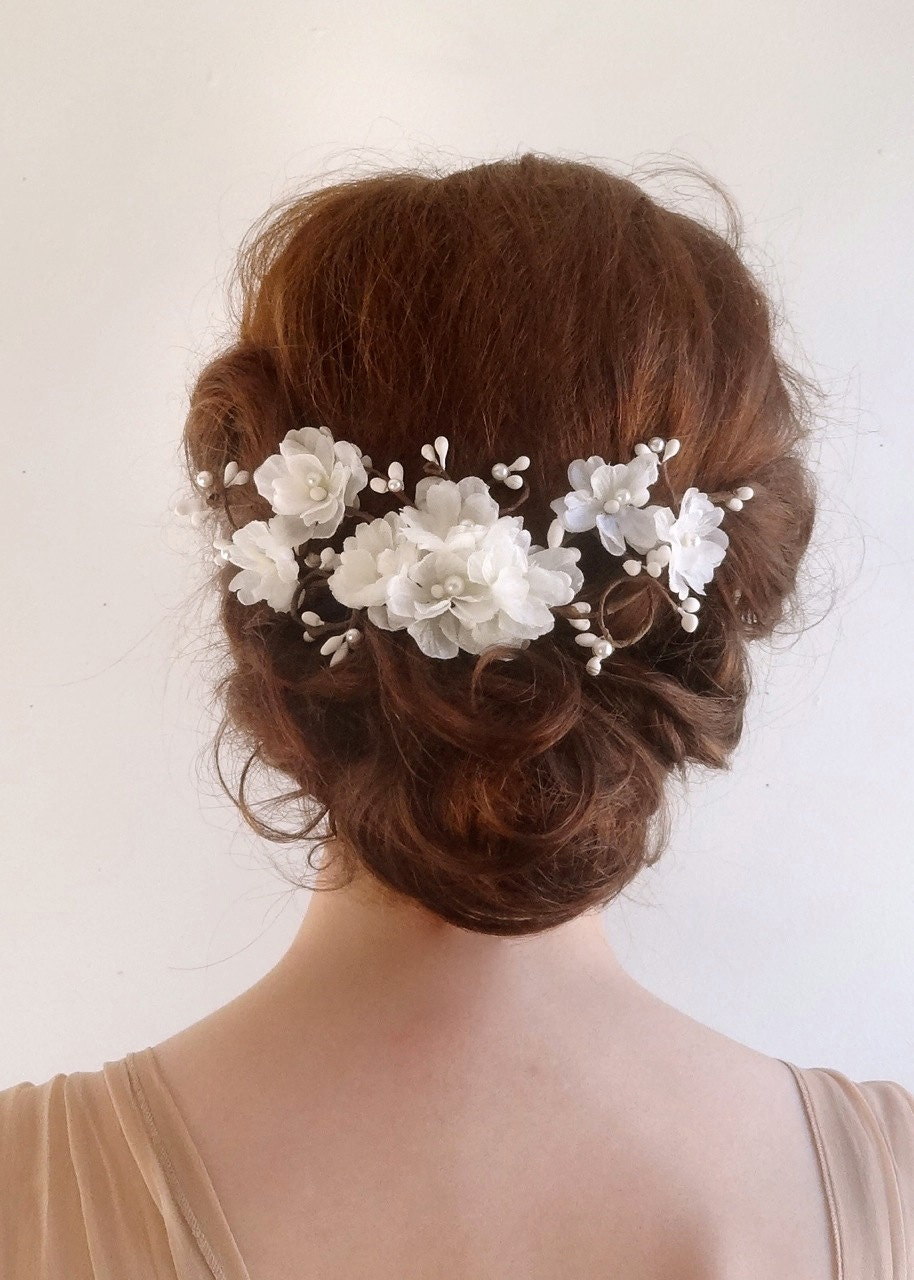wedding hair flower clips bridal hair accessory white flower hair clip bridal hair 9686