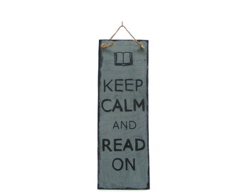 Keep Calm And Read On Distressed Primitive Wood Sign Rustic Home Decor