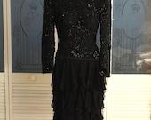Vintage Heavy Beaded Ruffled Silk Chiffon Cocktail Party Dress
