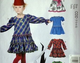 McCall's 6638 Sewing Pattern, Children's/Girls' Dresses, Sizes 2-3-4-5, Uncut Factory Folded