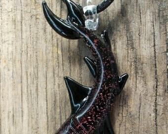 Red Dichroic Hand Blown Glass Shark Pendant, Focal Bead, Lampwork