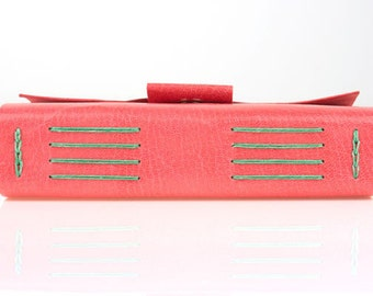 Feat in VOGUE Leather Journal / Sketchbook: Pink Green pretty feminine notebook, diary or travel journal. Gifts for her made in Britain.