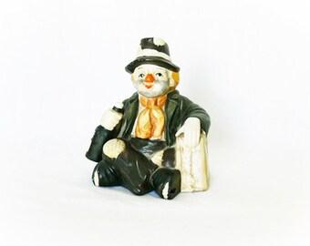 Vintage 60s Clown Music Box Porcelain Hobo Figurine Emmett Kelly Tiny Bubbles