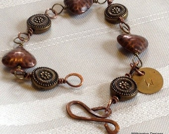Copper Hearts Mixed Metal Bracelet