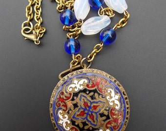 Red blue Enamel necklace, Repurposed Buckle Necklace,  Vintage Assemblage Jewelry, Cobalt Blue Glass Bead Necklace