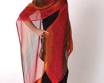 Ember Hand Painted Silk Ruana