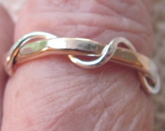 Wave ring twist rope two tone 14k gold filled /sterling silver 4 mm wide -thumb ring-midi ring