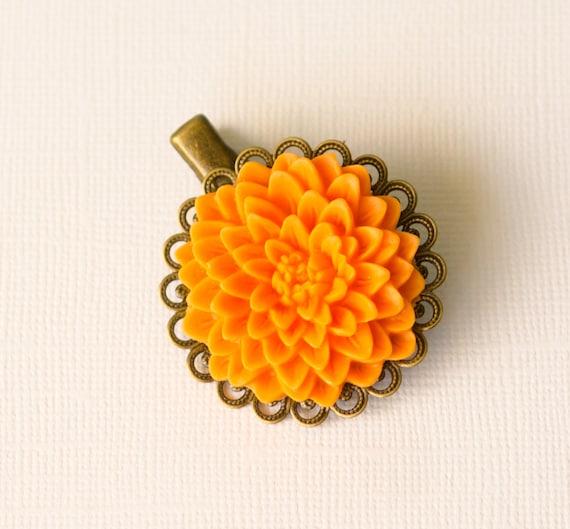 Antique Dahlia Flower Hair Clip, Mandarin, Pretty, spring, floral, hair, accessory, brooch, cheerful, pastel, gifts, handmade in Santa Cruz