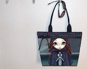 Jasmine Becket-Griffith Scottish Girl in Tartan tote bag, book tote, large purse, canvas tote, shoulder bag