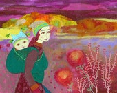 The Journey, 10 x 7, original mixed media painting on canvas board, mother and baby, sunset,