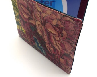 Travel card wallet.Oyster card wallet .Painted floral design.Single fold wallet suitable for travel card,Oyster card,credit card holder.