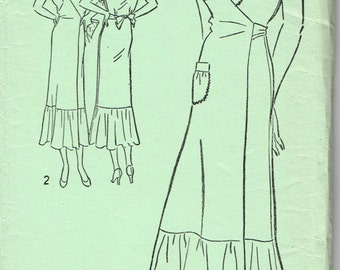 VINTAGE FACTORY Folded New EXCELLA 1930s 1940s Frock Dress Wrap Size 12 Pattern 4982