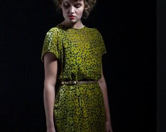 SALE - Taper Dress - 'New Dawn' Gold Velvet Dress