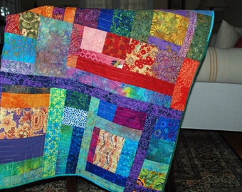 Oversized Multicolored Quilted Throw