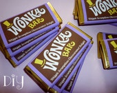 Wonka Bar wrappers Wonka Bar candy bar wrapper template Willy Wonka birthday party favors printable digital PDF template PuRPLe