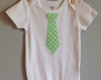 TAG SALE! Tie shirt  Bodysuit Green and blue mod circles - Tie onesie - Easter shirt - Great for photos