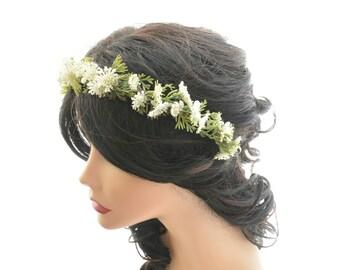 forest headpiece, woodland wedding crown, green and white flower head piece, flower girl, wedding hair accessory, headband