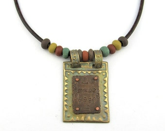 Bronze Mexican Motif Pendant with Olmec Script on Copper