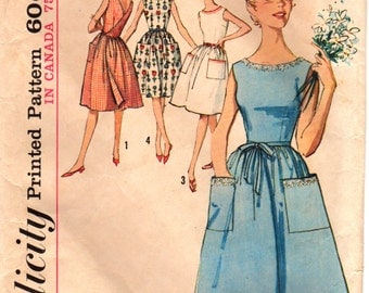 Simplicity 5460 1960s Misses Back Wrap Dress Pattern Full Skirt Womens Vintage Sewing Pattern Size 14 Bust 34