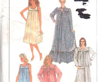 Simplicity 8310 8965 1980s Misses Pullover Nightgown Robe Bed Jacket Pajamas Pattern Womens Vintage Sewing SZ PT S M L Bust 30 - 42 UNCUT