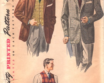Simplicity 4107 1950s Mens Sport Coat and Vest Pattern Adult Vintage Sewing Pattern Chest 36 OR Chest 40