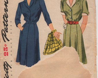 1940s Simplicity 1059 Misses Shirtwaist DRESS Pattern Invert Pleat Skirt Detachable Collar Womens Vintage Sewing Pattern Size 18 Bust 36 FF