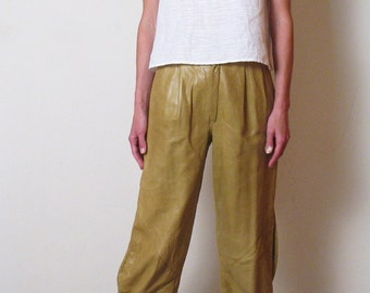 80s CHARTREUSE ITALIAN LEATHER pants, xs - s,  24 25 inch waist