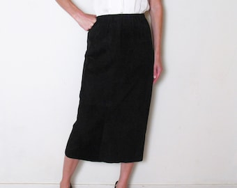 BLACK SUEDE high waist pencil skirt, s - m