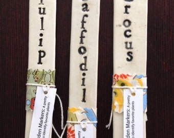 Flower Garden Markers made of porcelain, set of 3, Tulip, Crocus, Doffodil