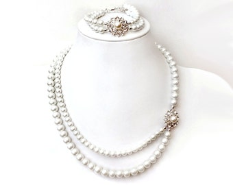 Necklace and Bracelet Set - Enchanting Collection - Rhinestone and Pearl - Asymmetrical - Sterling SIlver - Ivory or White - Vintage Style