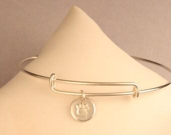 Adjustable Sterling Silver Bangle Bracelet - Petite Fine Silver Pawprint Charm - Artisan Jewelry by ME Designs