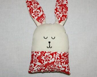 Bunny Plush RED HAWAIIAN/ Stuffed Animal / Rabbit / Handmade Doll / Easter Decor