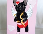 Cupid Frenchie Greeting Card