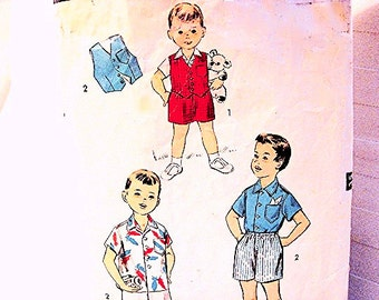 1950s Toddler Pattern size 4 Boy Clothes Pattern Top with Shorts Pattern Little Boys Vest Shirt Shorts Vintage Sewing Pattern
