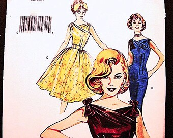Retro Butterick Dress Pattern Misses Size 6 8 10 UNCUT 1960s Cocktail Dress, Full Skirt Dress, Sheath Dress Pattern