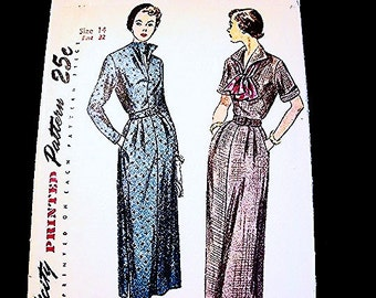 1940s Dress Pattern, Misses size 14, Womens Short or Long Sleeve Dress with Pockets, Vintage Simplicity Sewing Pattern