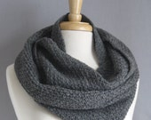 Gray Wool Blend Circle Scarf, Eco-Friendly Women's Scarf, Infinity Scarf, Long Cowl