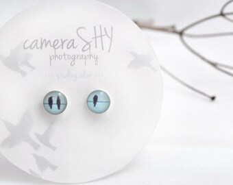 Trio. Petite Photo Studs-Sterling Silver Earrings