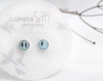 Trio. Petite Photo Studs-Sterling Silver Earrings