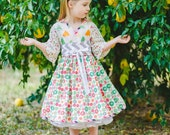 Girls Birthday Party Dress - Little Girls Dress - Photo Prop - Boutique Party Dress - Kimono Dress - sizes 2t to 7 years - Cotton Dress