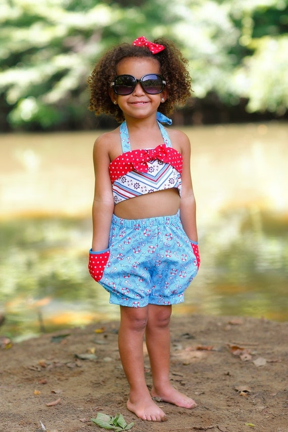 Girls Shorts Outfit, Bubble Shorts, Halter Top, Vintage Inspired, Birthday Cake Smash, Photo Prop, Girls Summer Outfit, Little Girls Outfit