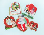 Lot of Five 1930s Valentine's Day Cards with Sweet Couples
