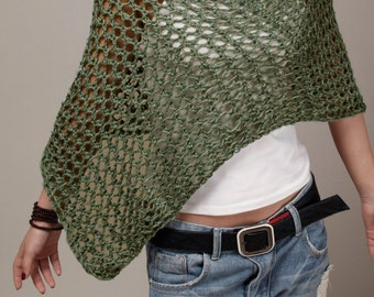 Hand knit Little cotton poncho scarf  in Fall Green-ready to ship